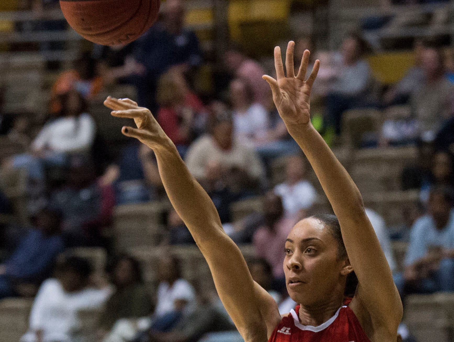 Alabama's Skyla Knight (1) takes a three pointer during the Alabama-Mississippi All-Star game at the Dunn-Oliver Acadome in Montgomery, Ala., on Friday, March 15, 2019. Alabama All-stars defeated the Mississippi All-stars 101-82.