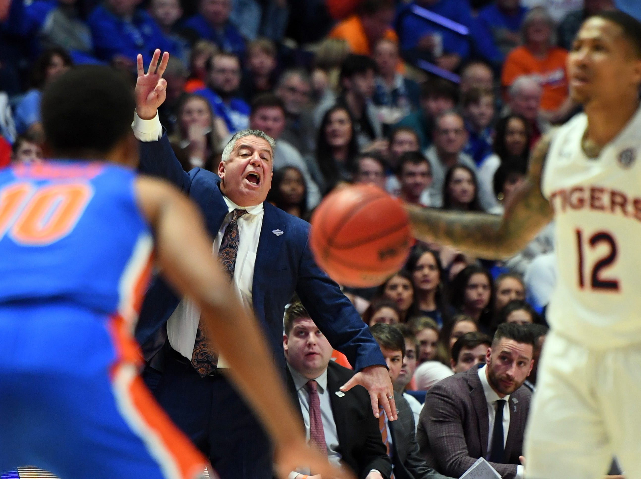 Mar 16, 2019; Nashville, TN, USA; Auburn Tigers head coach Bruce Pearl yells from the sidelines during the first half against the Florida Gators in the SEC conference tournament at Bridgestone Arena. Mandatory Credit: Christopher Hanewinckel-USA TODAY Sports