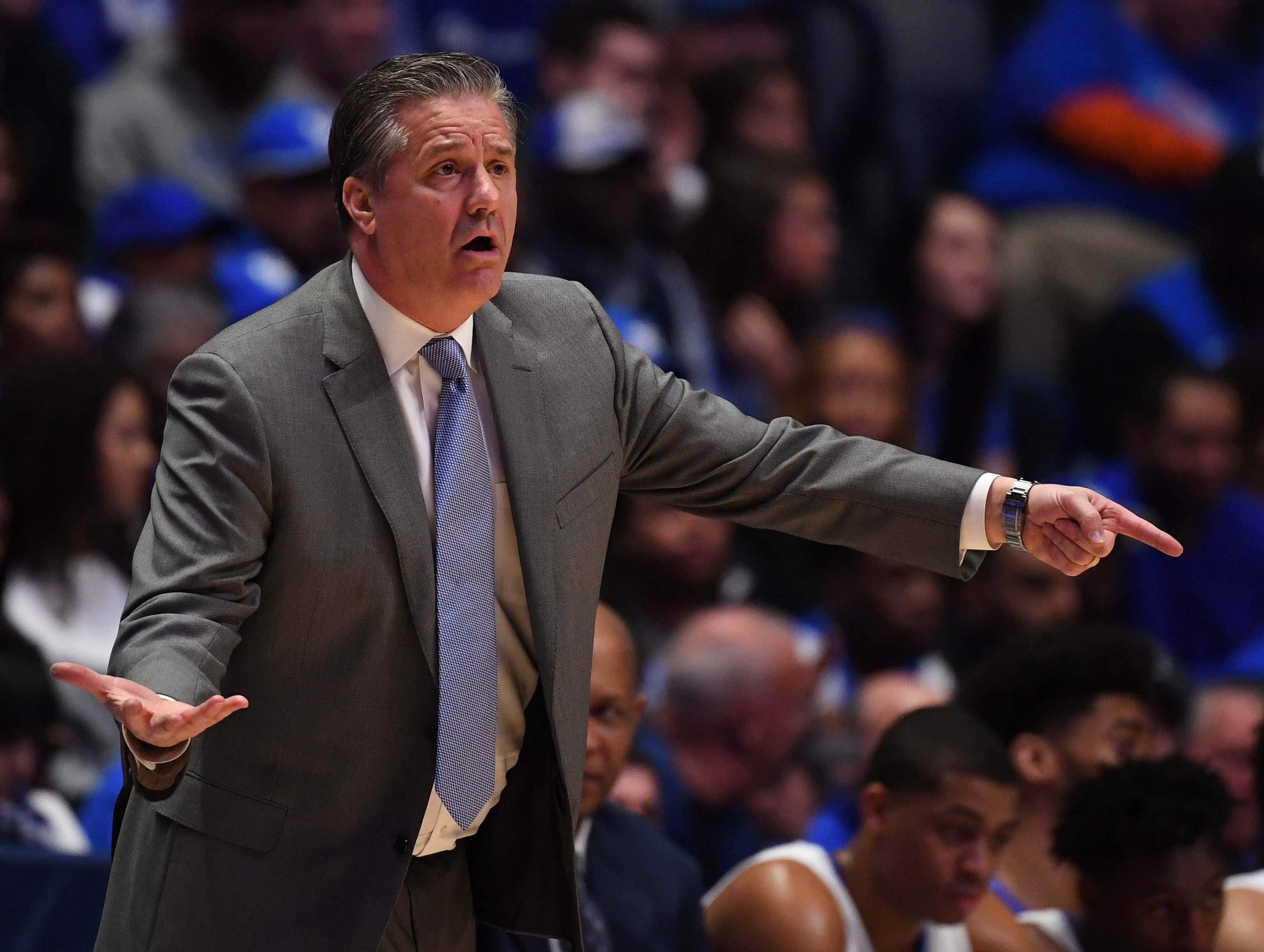 Mar 15, 2019; Nashville, TN, USA; Kentucky Wildcats head coach John Calipari during the first half against the Alabama Crimson Tide  of the SEC conference tournament at Bridgestone Arena. Mandatory Credit: Christopher Hanewinckel-USA TODAY Sports