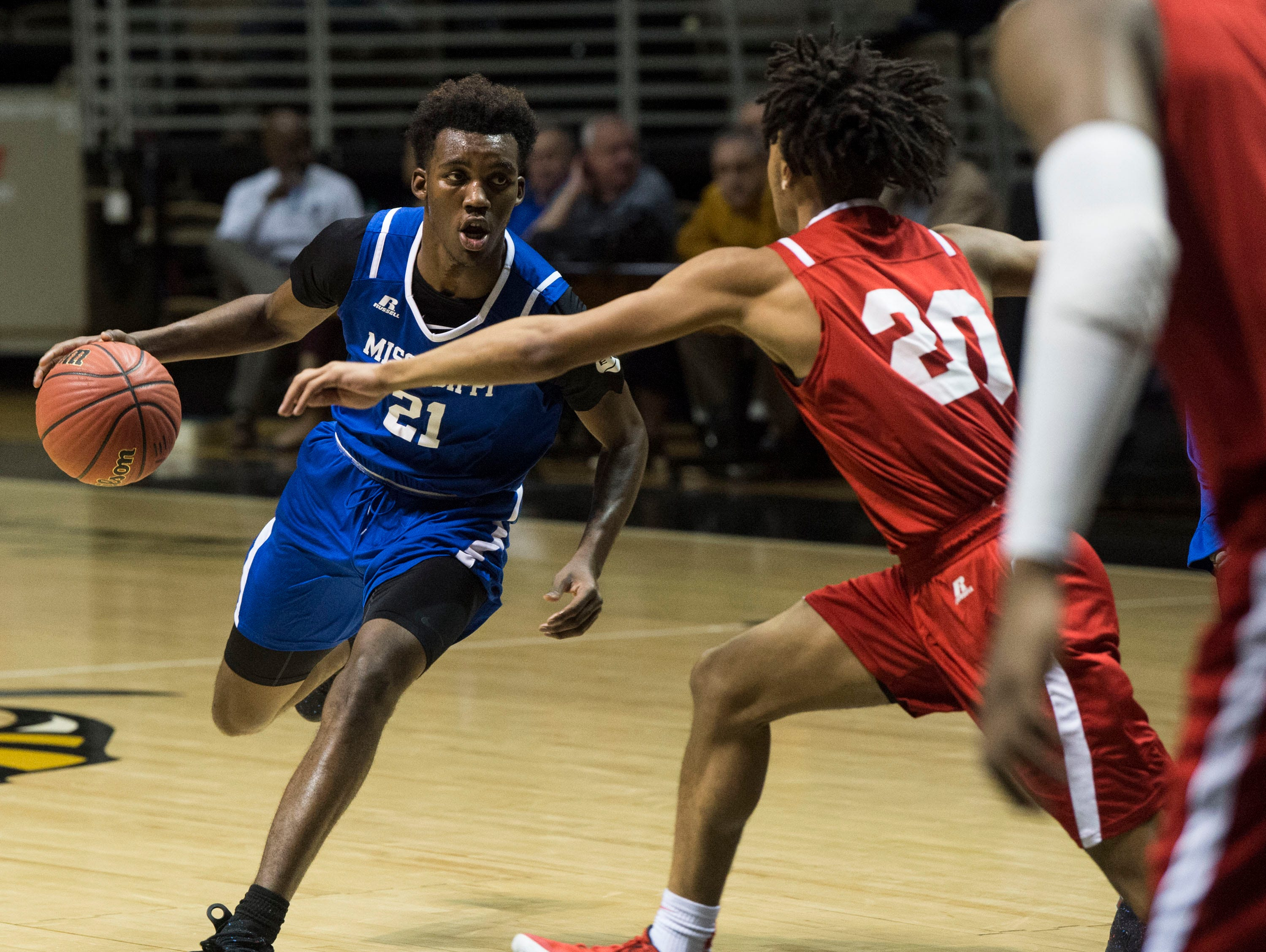 Mississippi's Jaylen Forbes (21) drives to the basket during the Alabama-Mississippi All-Star game at the Dunn-Oliver Acadome in Montgomery, Ala., on Friday, March 15, 2019. Alabama All-stars defeated the Mississippi All-stars 107-90.