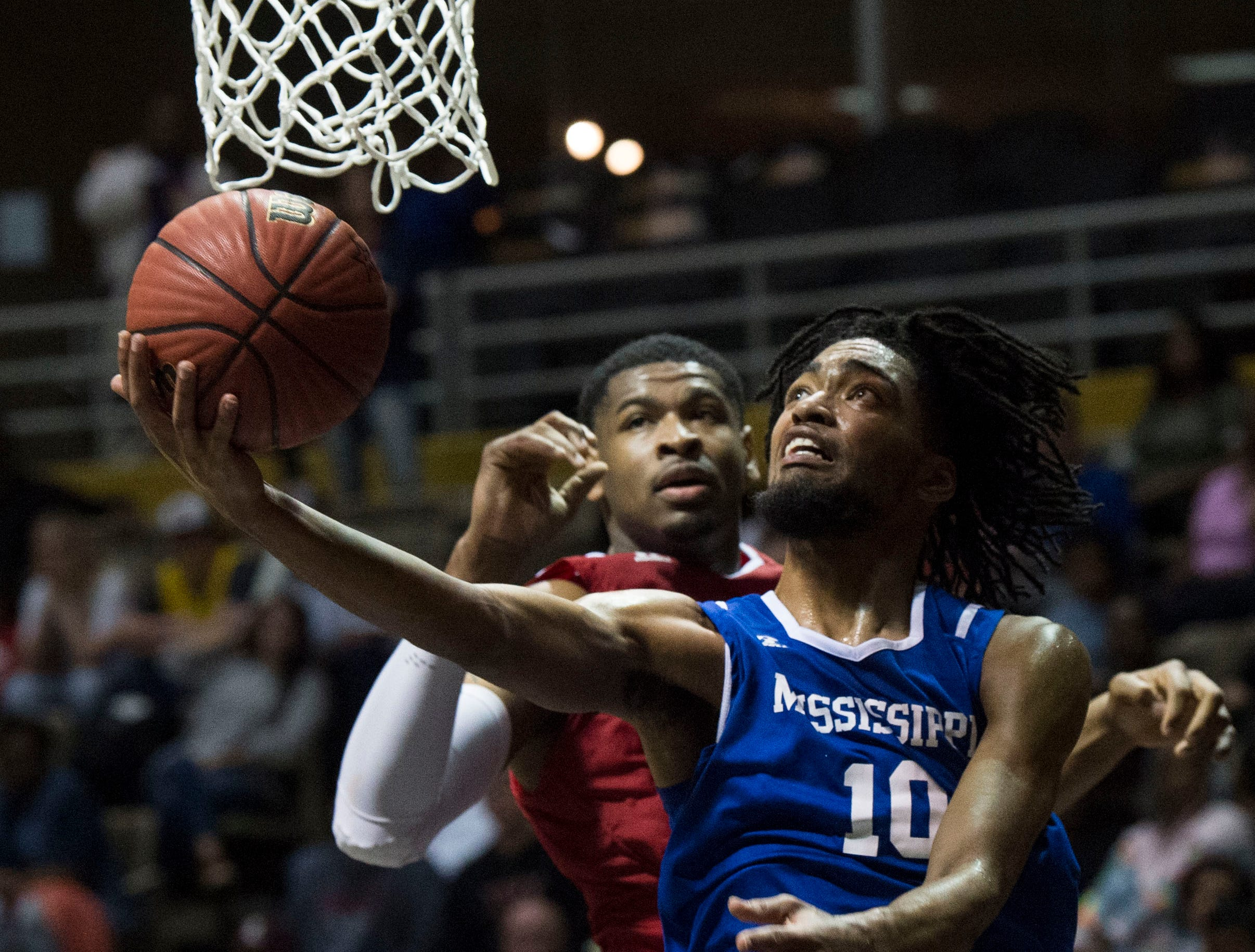 Mississippi's Vontrell Pringle (10) goes up for a layup during the Alabama-Mississippi All-Star game at the Dunn-Oliver Acadome in Montgomery, Ala., on Friday, March 15, 2019. Alabama All-stars defeated the Mississippi All-stars 107-90.