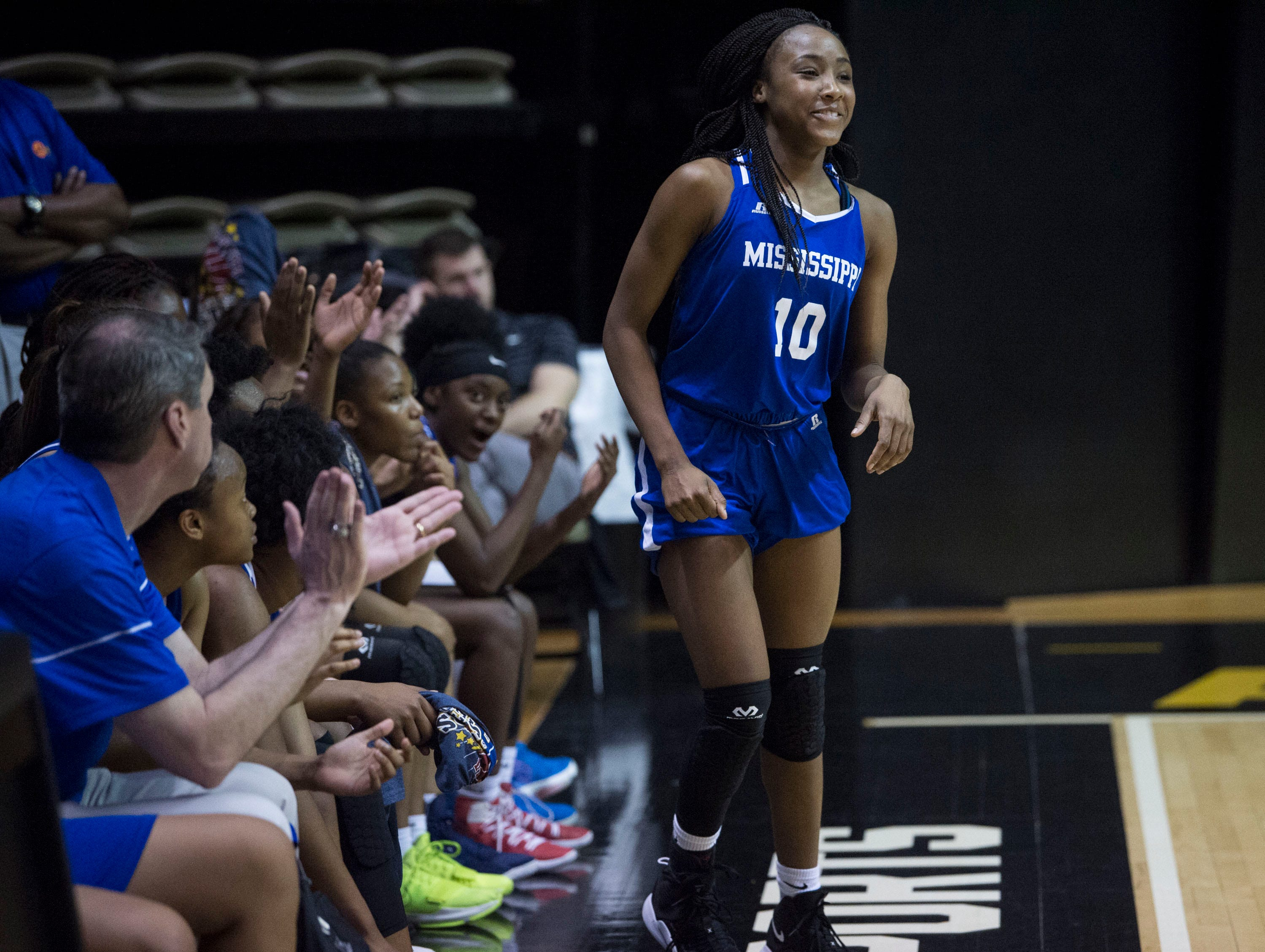 Mississippi's Hannah White (10) is announced as the Mississippi team MVP during the Alabama-Mississippi All-Star game at the Dunn-Oliver Acadome in Montgomery, Ala., on Friday, March 15, 2019. Alabama All-stars defeated the Mississippi All-stars 101-82.