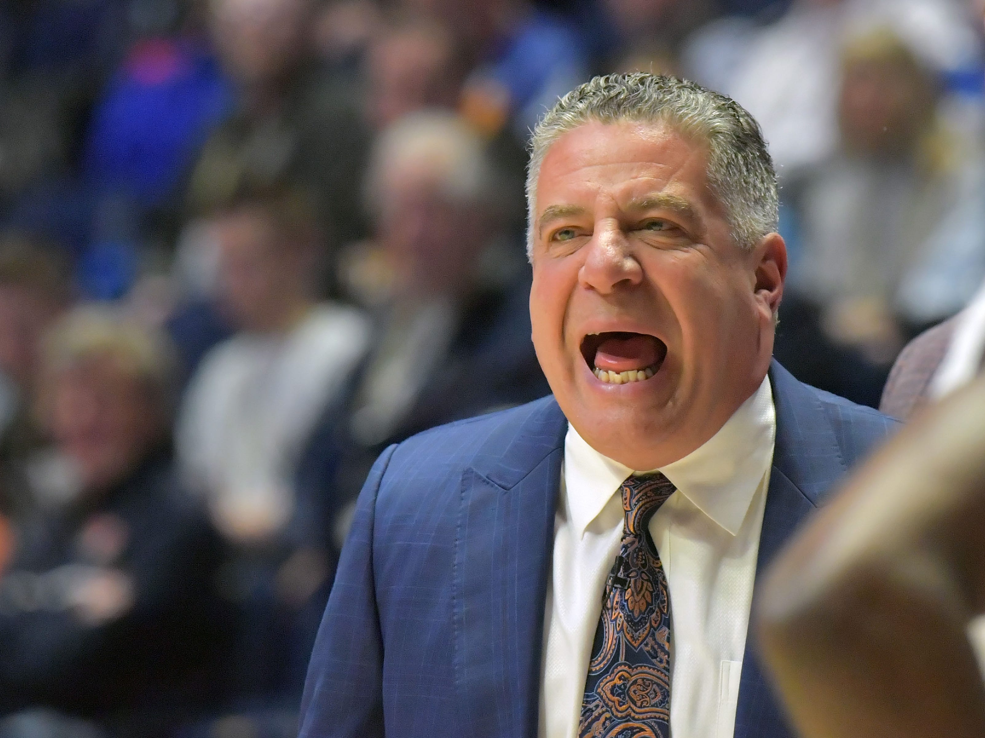 Mar 16, 2019; Nashville, TN, USA; Auburn Tigers head coach Bruce Pearl during the first half of game eleven against the Florida Gators in the SEC conference tournament at Bridgestone Arena. Mandatory Credit: Jim Brown-USA TODAY Sports