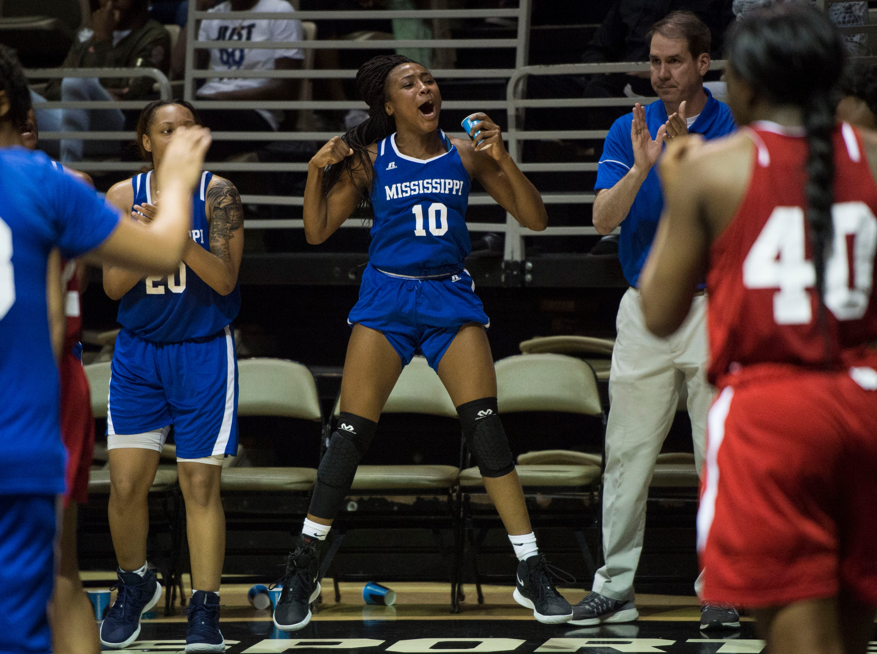 Mississippi's Hannah White (10) reacts from the bench during the Alabama-Mississippi All-Star game at the Dunn-Oliver Acadome in Montgomery, Ala., on Friday, March 15, 2019. Alabama All-stars defeated the Mississippi All-stars 101-82.
