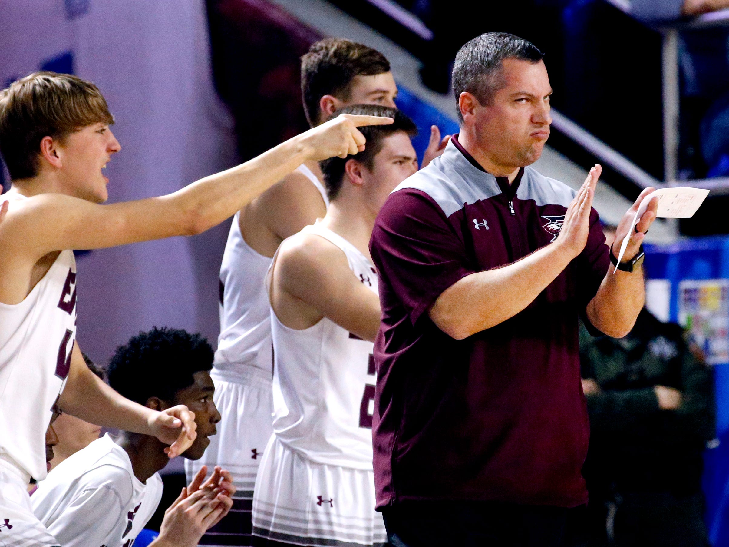 Eagleville's head coach Davy McClaran on the sidelines during the semifinal round of the TSSAA Class A Boys State Tournament against Columbia Academy, on Thursday, March 15, 2019, at Murphy Center in Murfreesboro, Tenn.