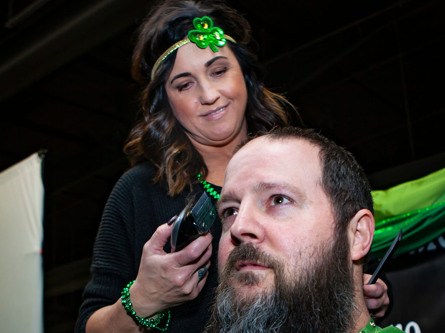 Bill Wilkes braves the shave for the first time at the ninth annual Bald in the Boro fundraiser for the St. Baldrick's Foundation. The event was held Friday, March 15, 2019 at Lanes, Trains and Automobiles in Murfreesboro.