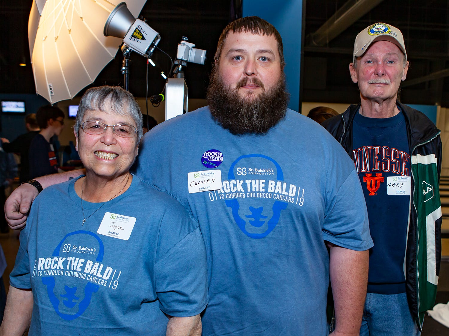 Joyce Tibbs participated in Bald in the Boro for the seventh year, along with Charles Boyd (6 years) and Gary Pafford (7 years).  Bald in the Boro is a fundraiser for the St. Baldrick's Foundation. The event was held Friday, March 15, 2019 at Lanes, Trains and Automobiles in Murfreesboro.