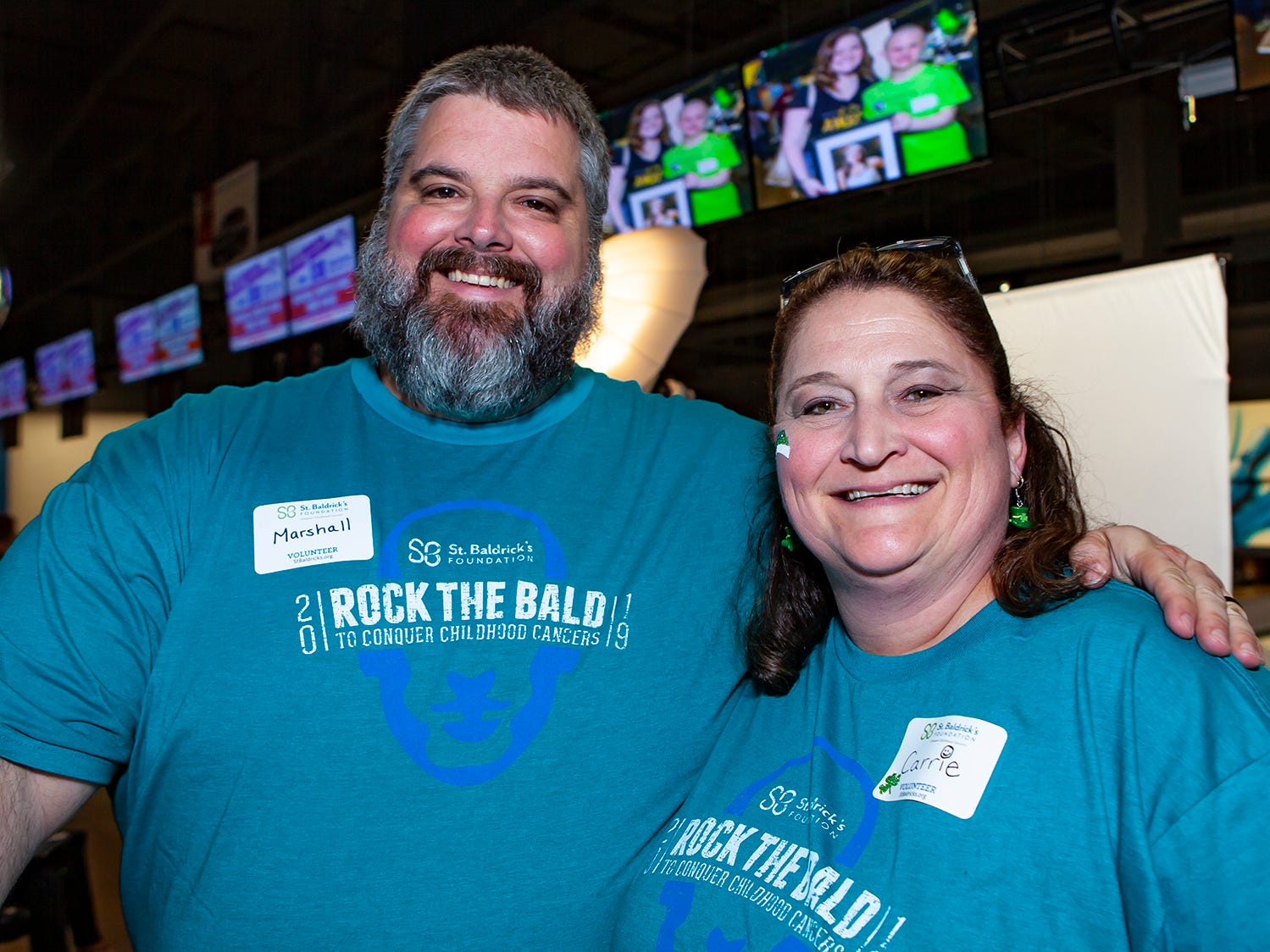 Master of Ceremonies Marshall Campbell with Carrie Fitzgerald at the ninth annual Bald in the Boro fundraiser for the St. Baldrick's Foundation. The event was held Friday, March 15, 2019 at Lanes, Trains and Automobiles in Murfreesboro.