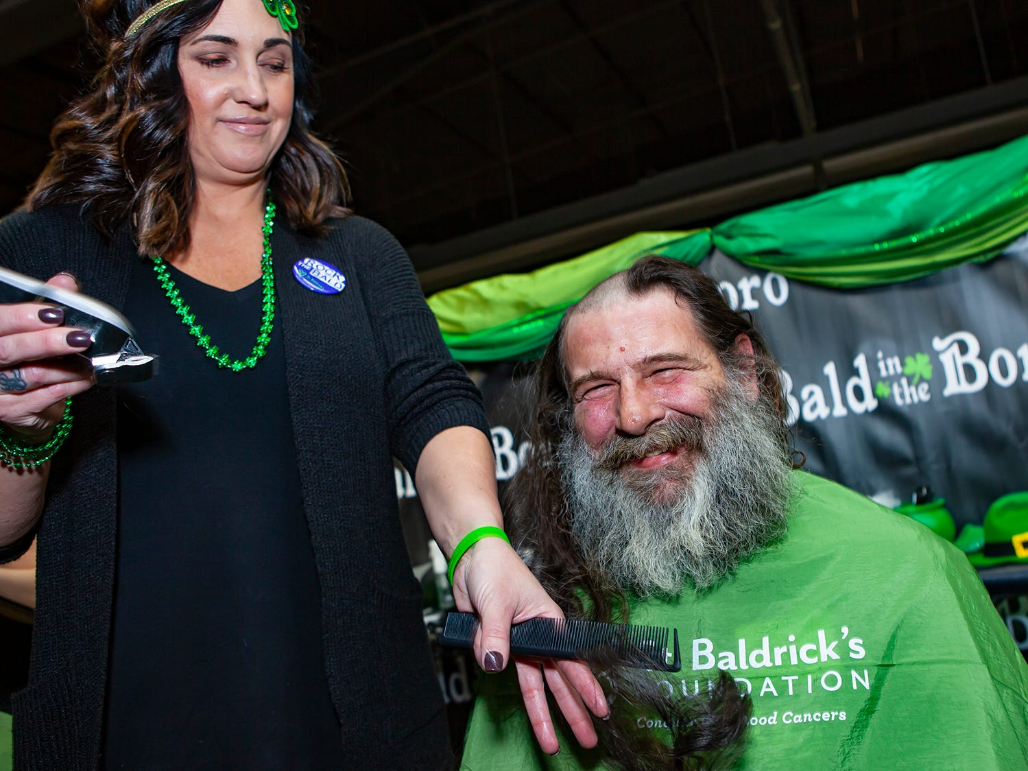 Tracy Terral braved the shave for a second time at the ninth annual Bald in the Boro fundraiser for the St. Baldrick's Foundation. The event was held Friday, March 15, 2019 at Lanes, Trains and Automobiles in Murfreesboro.