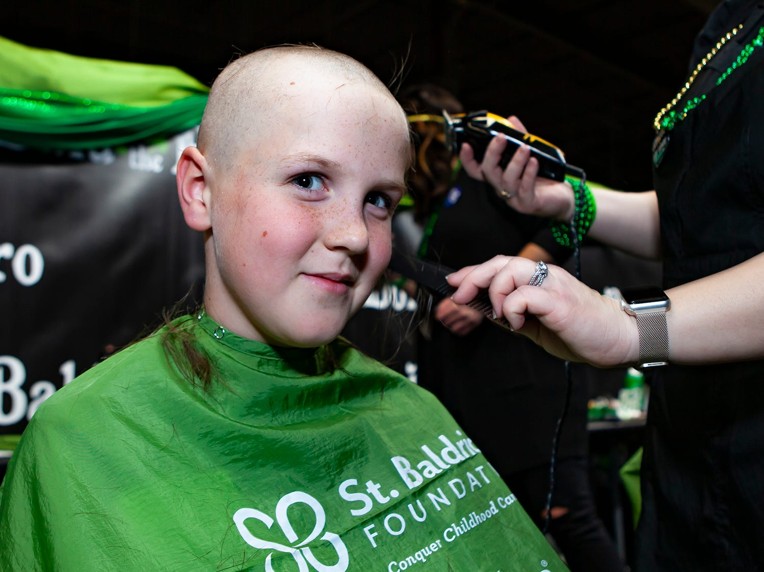 Richie Wilson, 10, has braved the shave since the age of 3. His mother ran the same event when the family lived in Connecticut. More than 80 volunteers participated in the ninth annual Bald in the Boro fundraiser for the St. Baldrick's Foundation. The event was held Friday, March 15, 2019 at Lanes, Trains and Automobiles in Murfreesboro.