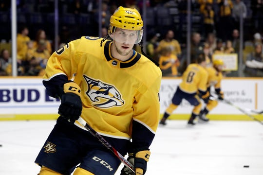 Nashville Predators defenseman Matt Donovan warms up before a game against the Edmonton Oilers on Feb. 25, 2019.