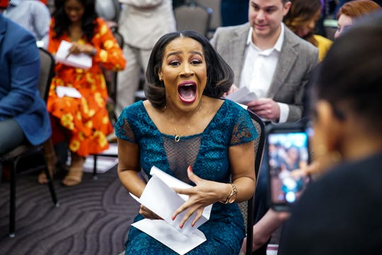 Laetitia Badio reacts after learning she will do her residency at Emory University Hospital in Atlanta, during Match Day at Meharry Medical College on March 15.