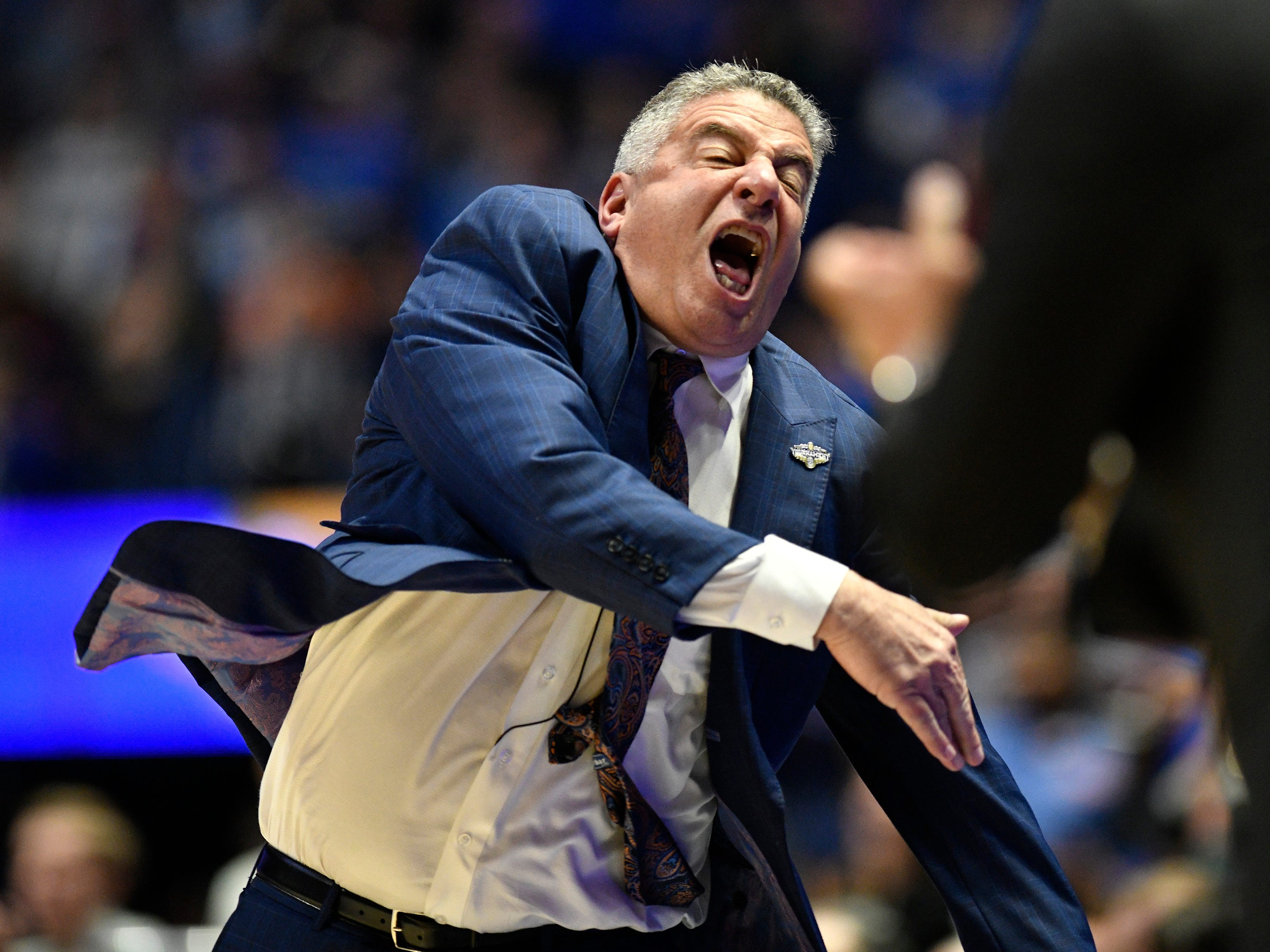 Auburn head coach Bruce Pearl reacts during the second half of the SEC Men's Basketball Tournament game against Florida at Bridgestone Arena in Nashville, Tenn., Saturday, March 16, 2019.