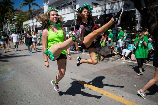 Dancers from Flanagan O'Hare School of Irish Dance perform during the Naples St. Patrick's Day Parade downtown on Saturday, March 16, 2019.