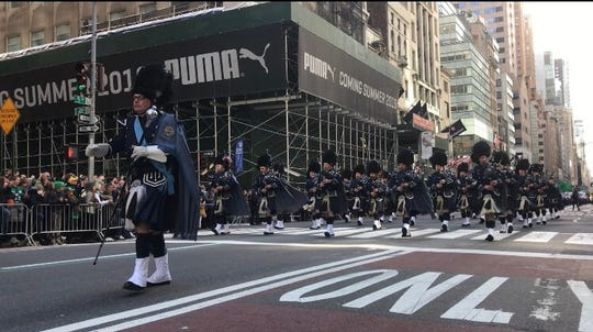 Band Master Brian McKeever leads the Police Pipes and Drums of Bergen County at the 2019 St. Patrick's Day Parade.