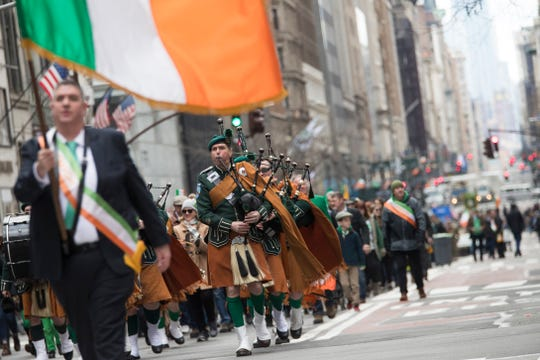 Bagpipers march up Fifth Avenue during the St. Patrick's Day Parade, Saturday, March 16, 2019, in New York.