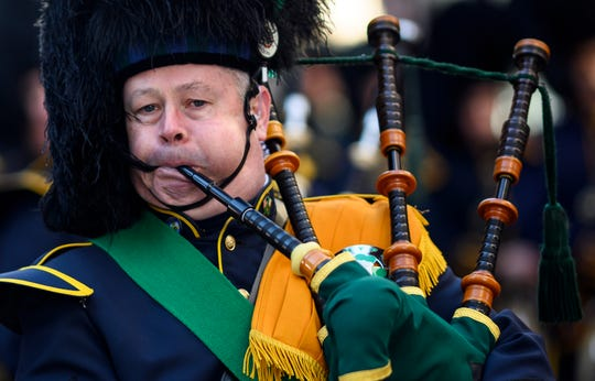 A bagpiper marches on 5th Avenue during the annual New York City St. Patrick's Day Parade on March 16, 2019. - The New York City St. Patrick's Day parade, dating back to 1762, is the world's largest St. Patrick's Day celebration.