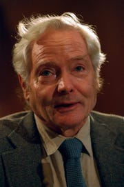 FILE - In this Sept. 29, 1994 file photo, poet W.S. Merwin is recognized by the Academy of American Poets after winning the Tanning Prize in Washington.