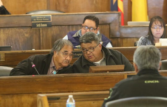 Division of General Services director nominee Lomardo Aseret, left, sits with Delegate Edmund Yazzie at the Naa'bik'íyáti' Committee meeting on Thursday in Window Rock, Ariz. Yazzie is sponsoring the bill to confirm Aseret's nomination.