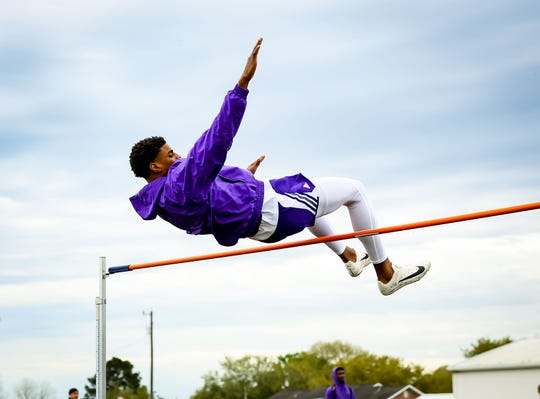 OC's Keon Coleman easily clears the bar in the high jump competition Friday at the Bobcat Relays at Eunice High.