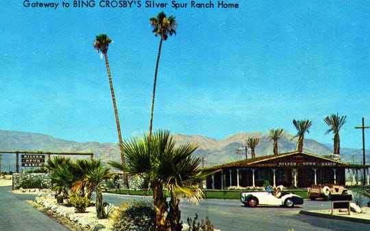 "Color postcard advertising ""Gateway to Bing Crosby's Silver Spur Ranch Home."""
