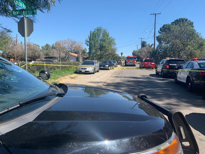 Riverside police respond to a plane crash near Robinson Avenue.
