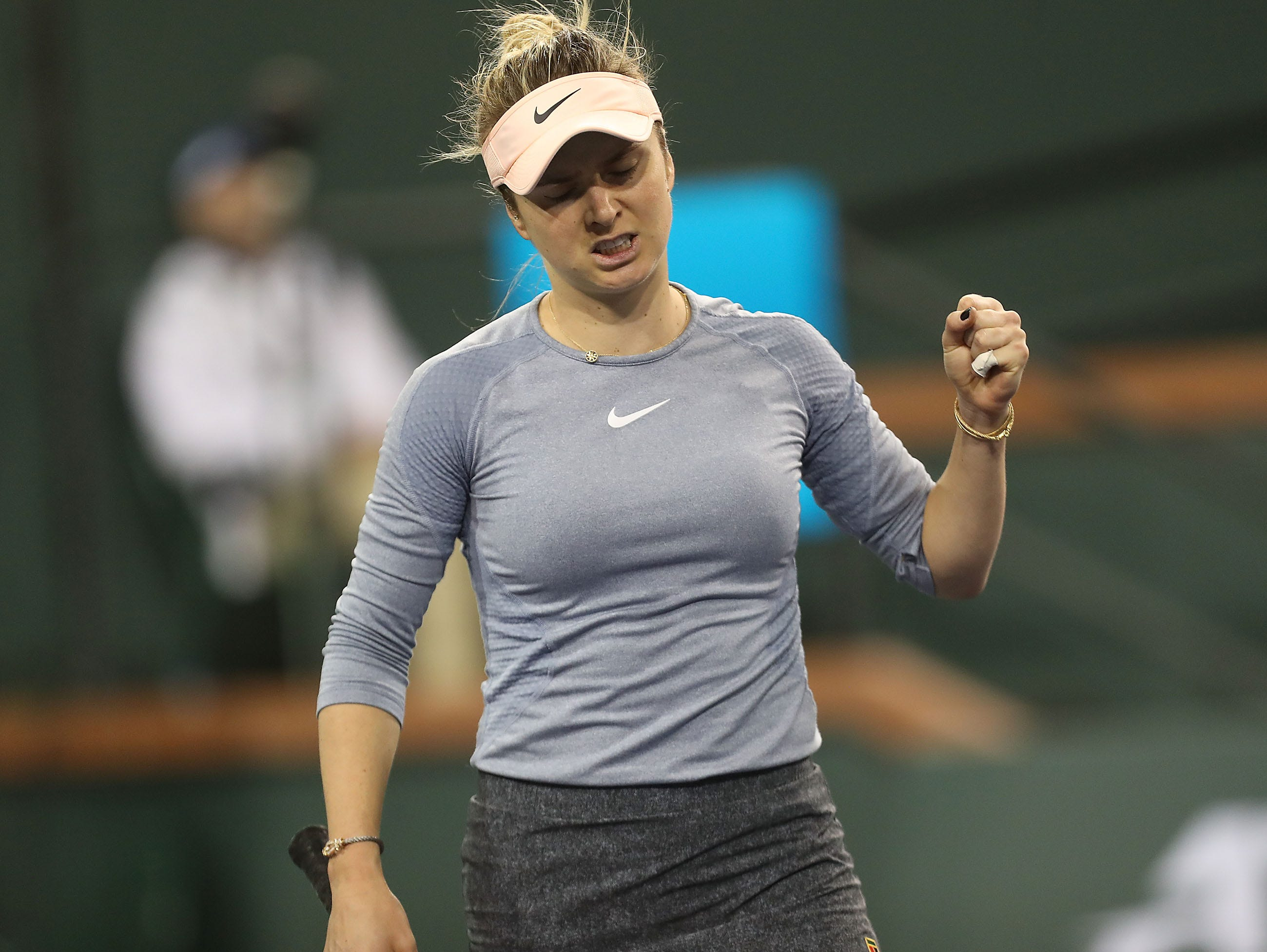 Evina Svitolina celebrates a point win during the semifinal match at the BNP Paribas Open in Indian Wells, March 15, 2019.