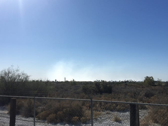 A view from the smoke of the Lincoln Fire in Mecca on Saturday.