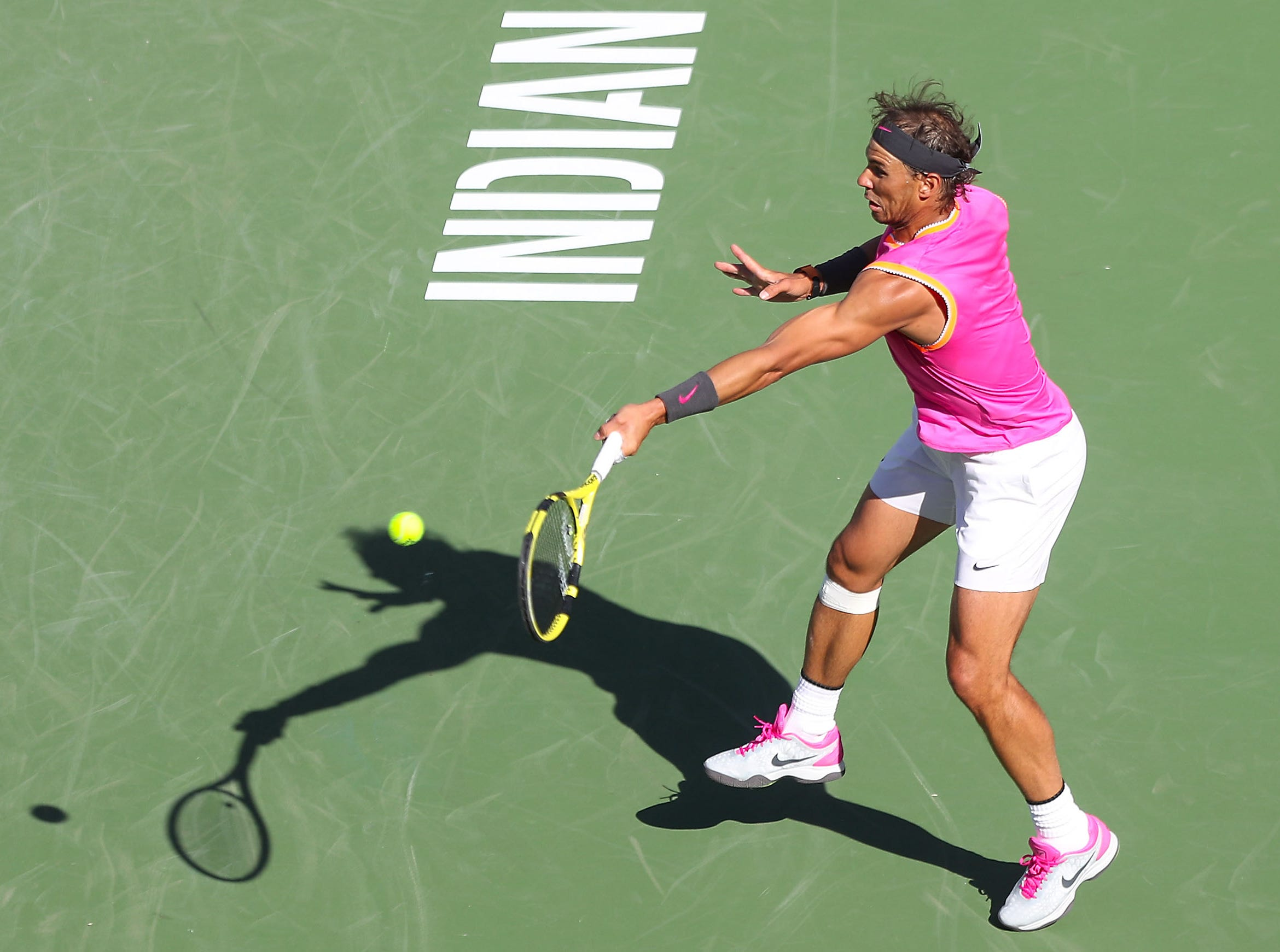 Rafael Nadal hits a forehand during his match against Karen Khachanov at the BNP Paribas Open in Indian Wells, March 15, 2019.