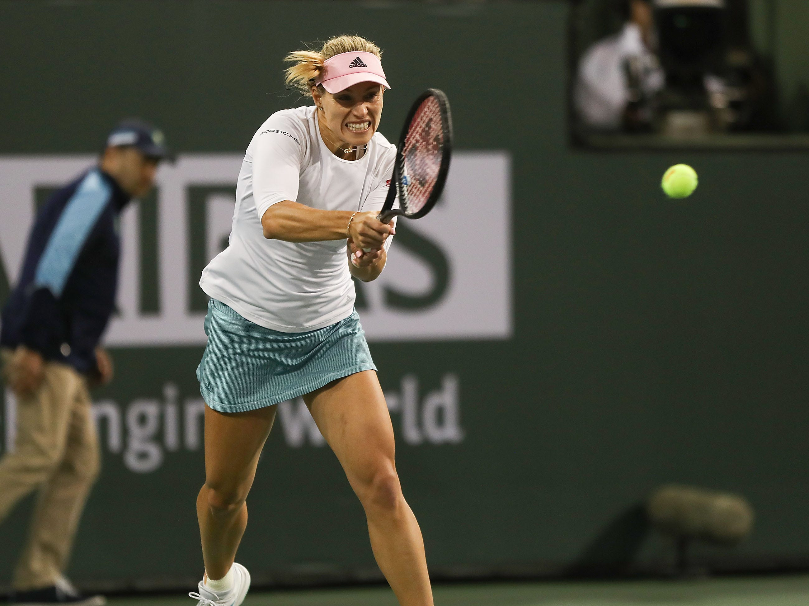 Angelique Kerber hits a shot during her win over Belinda Bencic in the semifinal match at the BNP Paribas Open in Indian Wells, March 15, 2019.