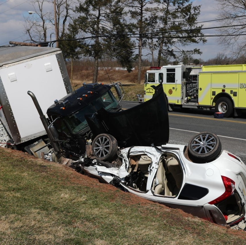 1 flown from crash involving SUV and tractor-trailer