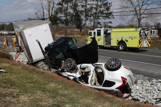 A tractor-trailer and SUV crashed on Baltimore Pike in Mt. Joy Township early Saturday afternoon.