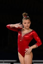 Jade Carey of Phoenix, shown competing at 2017 World Gymnastics Championships, won vaulting Saturday at the Baku World Cup. She is a contender for the 2020 Tokyo Olympics.