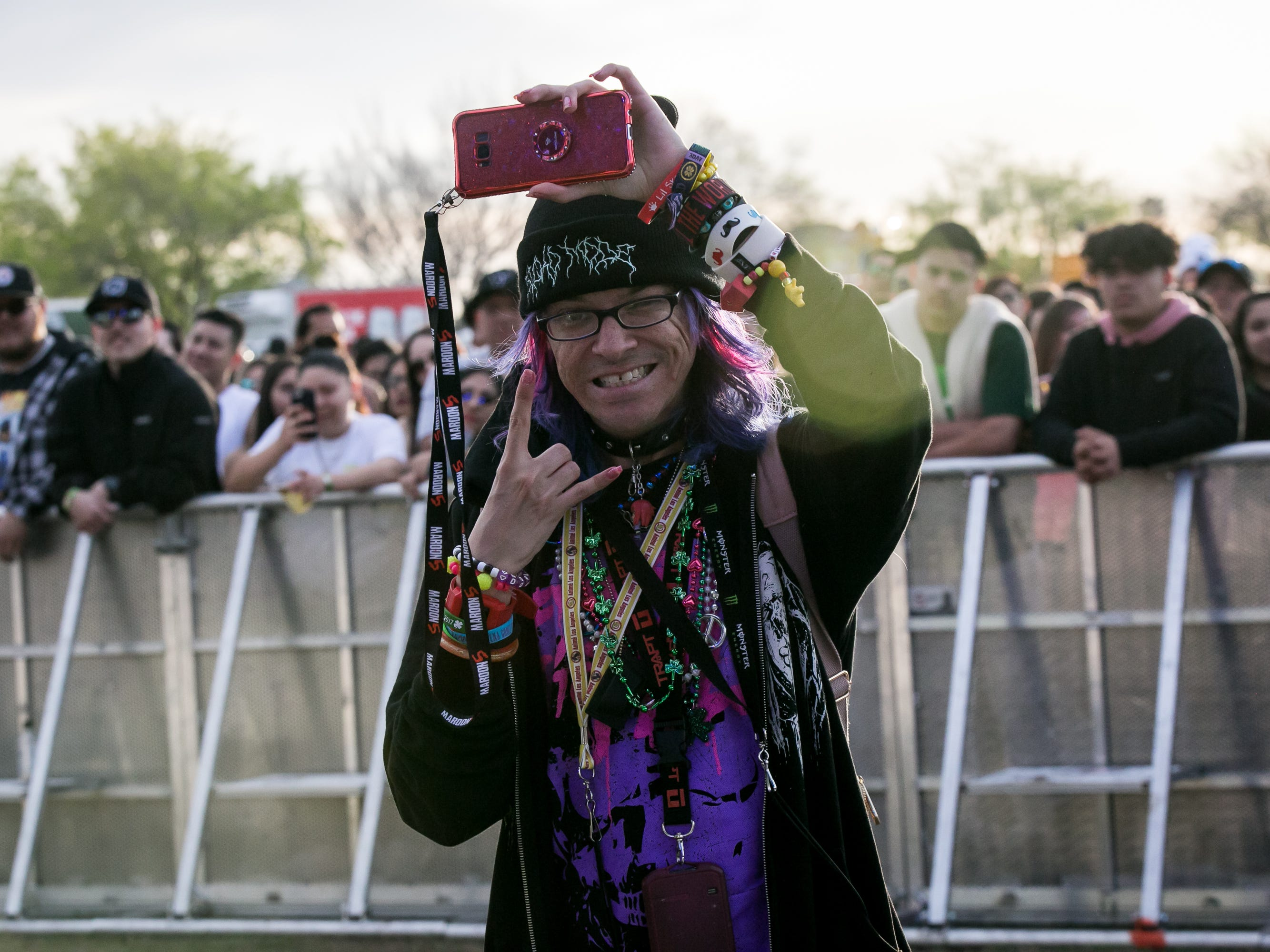 This purple and pink color scheme was featured at Pot of Gold Music Festival at Steele Indian School Park on Friday, March 15, 2019.