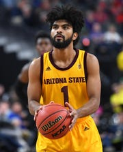 Mar 15, 2019; Las Vegas, NV, United States; Arizona State Sun Devils guard Remy Martin (1) prepares to make a free throw during an overtime period against the Oregon Ducks in a Pac-12 conference tournament game at T-Mobile Arena. Mandatory Credit: Stephen R. Sylvanie-USA TODAY Sports
