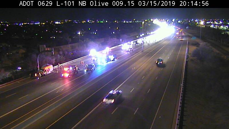 A crash that injured several people shut the Loop 101 freeway southbound at Olive Avenue Friday night.