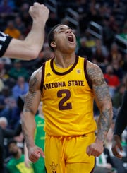Arizona State's Rob Edwards celebrates after a play against Oregon during the first half of an NCAA college basketball game in the semifinals of the Pac-12 men's tournament Friday, March 15, 2019, in Las Vegas. (AP Photo/John Locher)