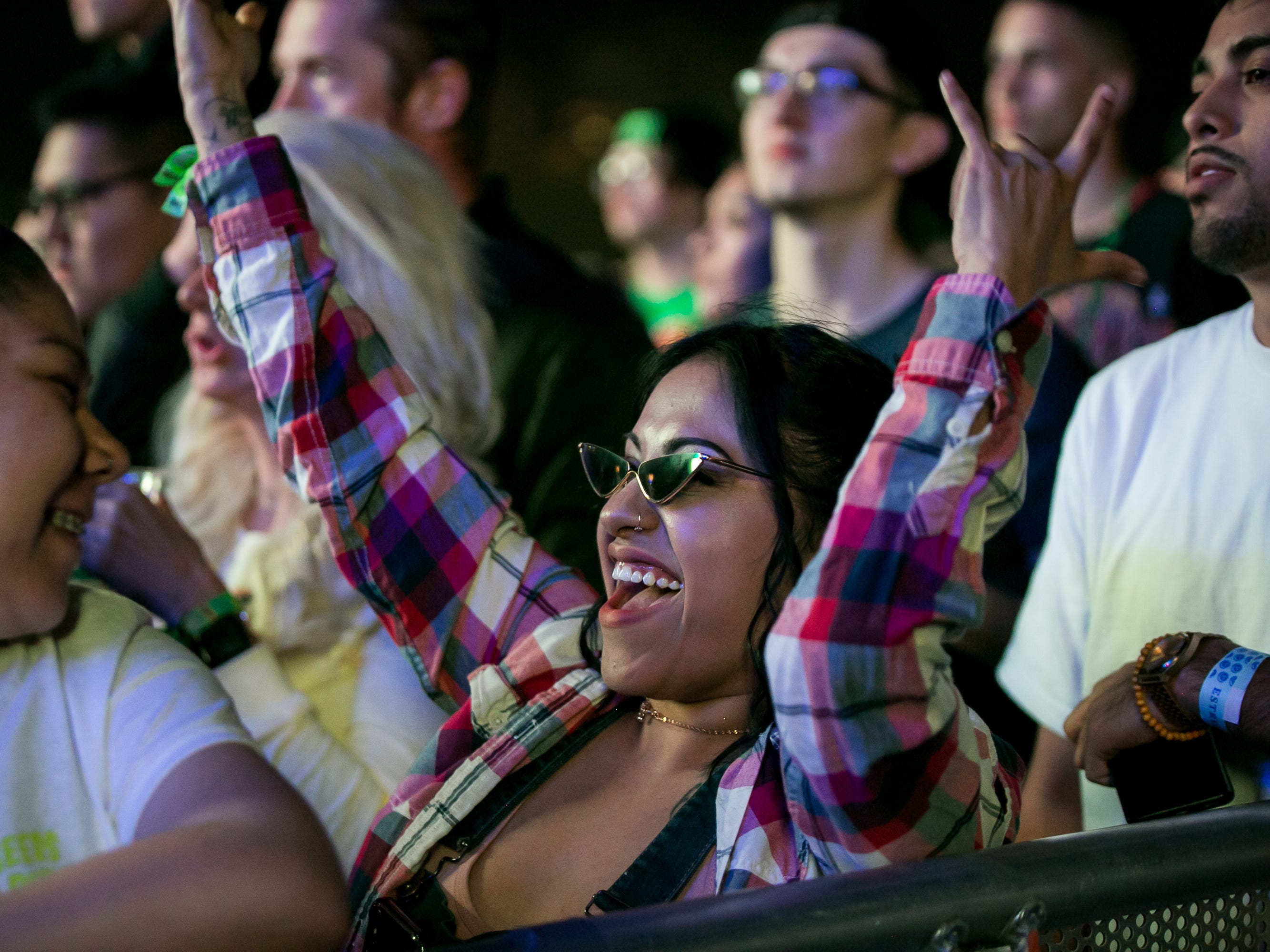 Fans cheer at Pot of Gold Music Festival at Steele Indian School Park on Friday, March 15, 2019.