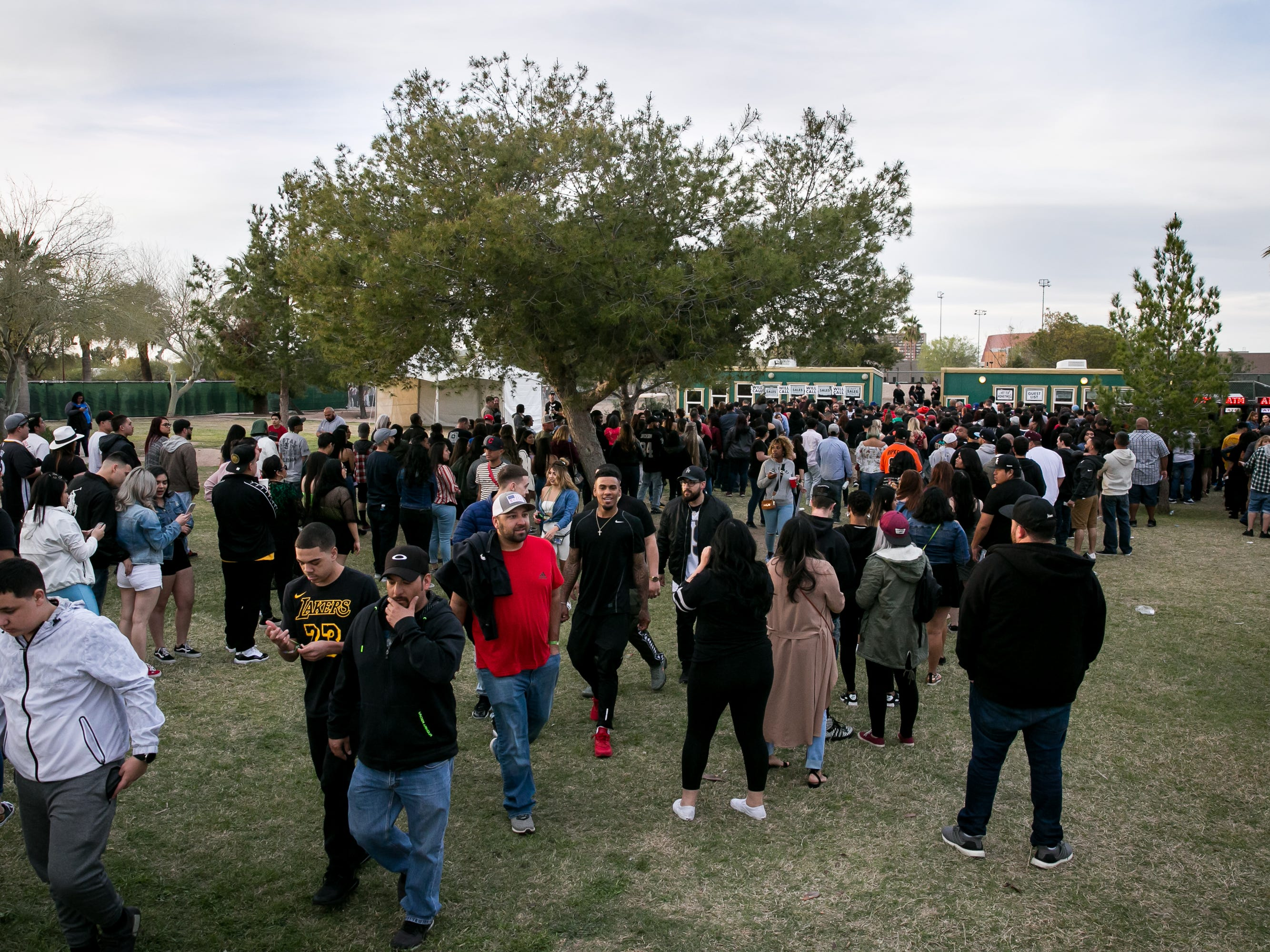 Fans encountered long ticketing lines at Pot of Gold Music Festival at Steele Indian School Park on Friday, March 15, 2019.