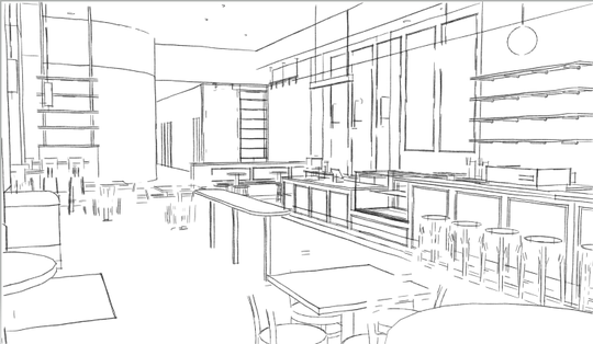 A sketch of Prince Street Cafe which plans to open up a second location in Continental Square (Photo courtesy of Royal Square Development & Construction).
