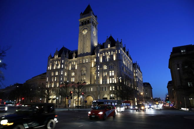 This Jan. 30, 2018, file photo shows the Trump International Hotel in Washington. A federal appeals court is set to hear arguments in a lawsuit that alleges President Donald Trump is violating the constitution by profiting off the presidency.