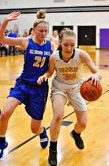 Alli Campbell is shown here at left in a file photo while playing against York Catholic. The Bellwood-Antis standout is the state 2-A Player of the Year for a third straight season.