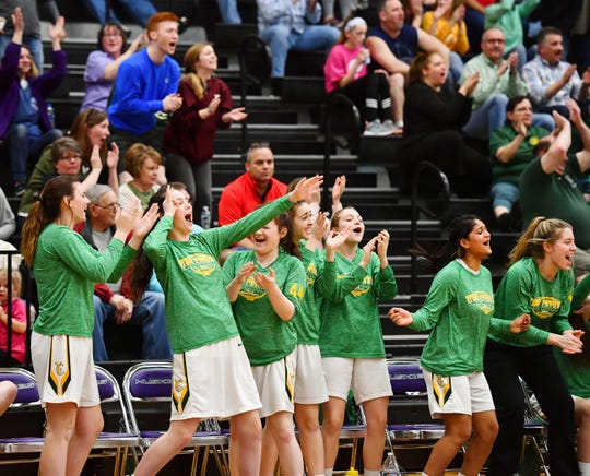York Catholic vs Bellwood Antis during PIAA girls' Class 2-A basketball quarterfinal action at Mifflin County High School in Lewistown, Friday, March 15, 2019. Bellwood Antis would win the game 53-47. Dawn J. Sagert photo