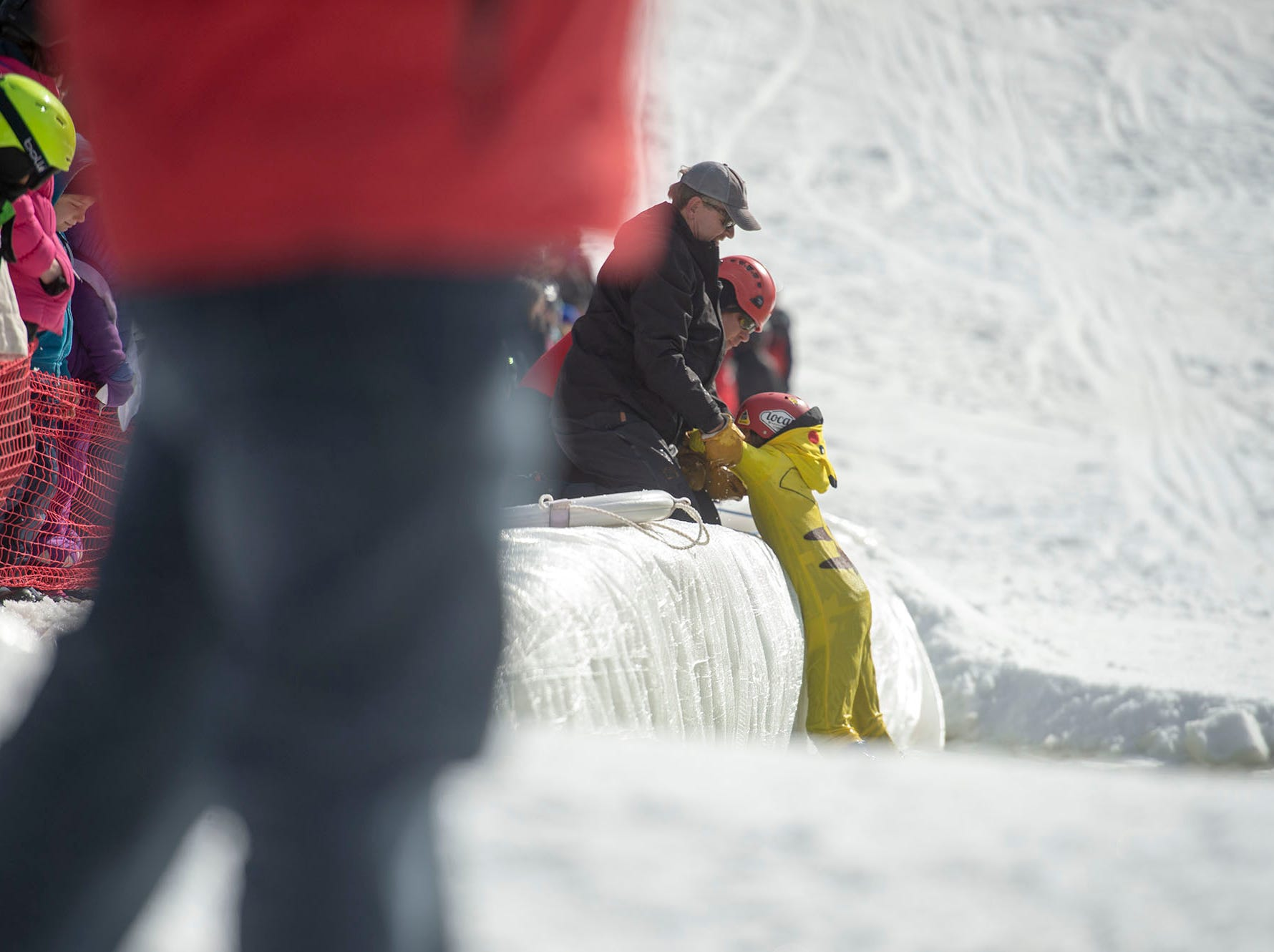 Getting out of the pond was easier if the participant was smaller at Roundtop Mountain Resort on Saturday, March 16, 2019.