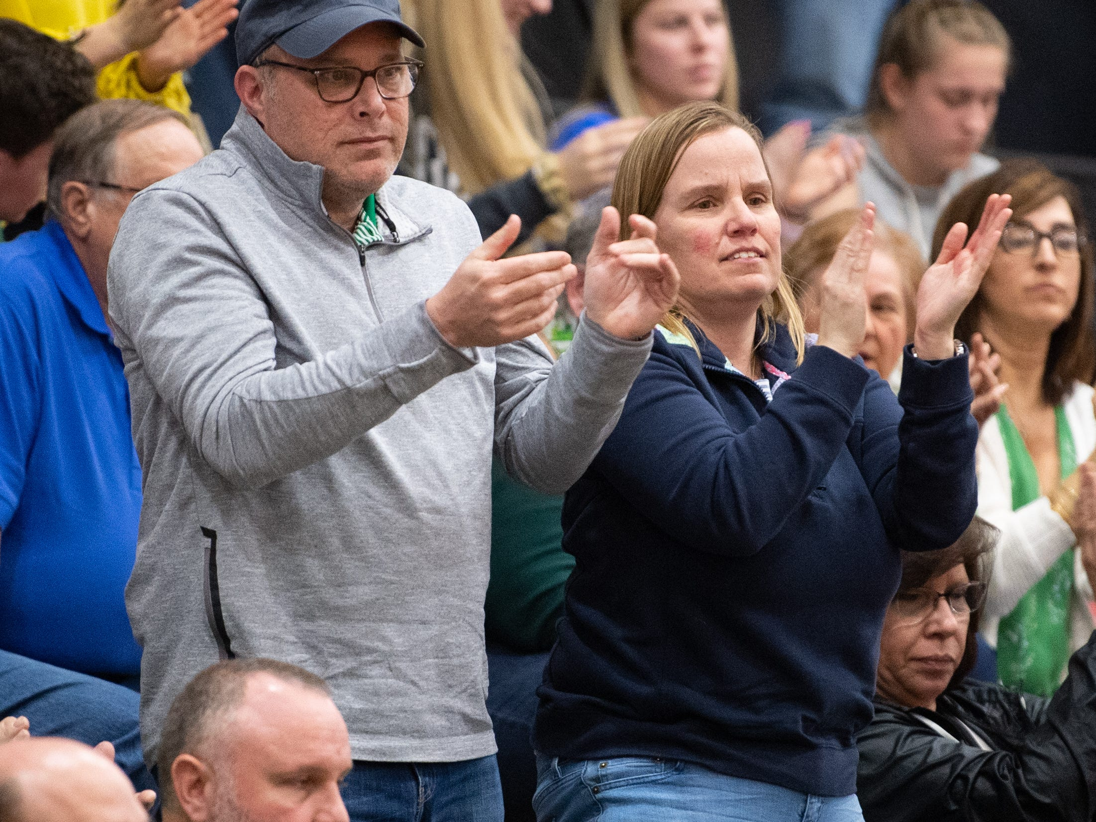 York Catholic fans applaud their team after a hard fought game against Bellwood-Antis in the PIAA girls' basketball game, March 15, 2019 at Mifflin County High School. The Fighting Irish lost to the Lady Blue Devils 53 to 47.
