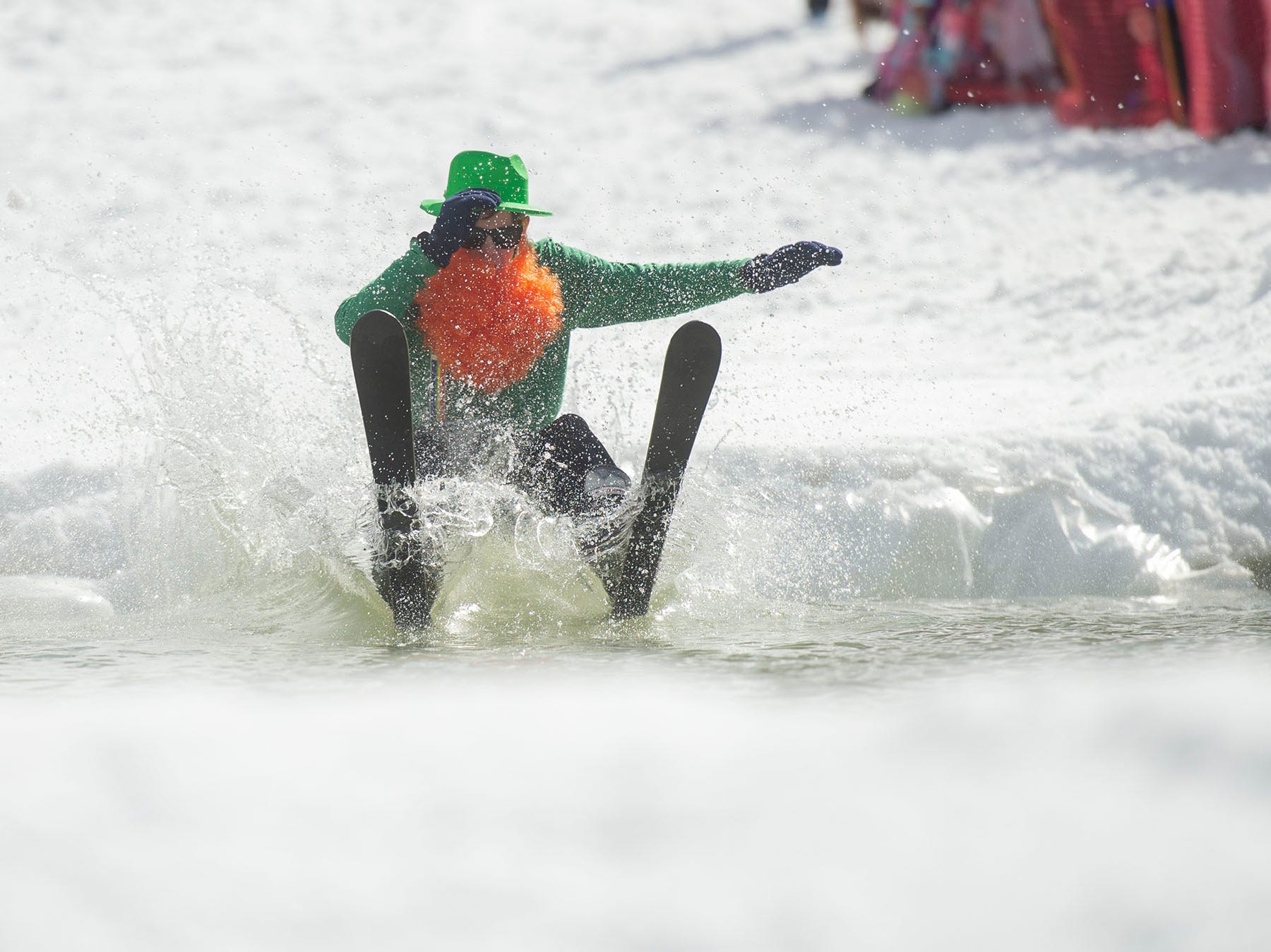 This leprechaun didn't find a pot of gold at the other side of the pond at Roundtop Mountain Resort on Saturday, March 16, 2019.