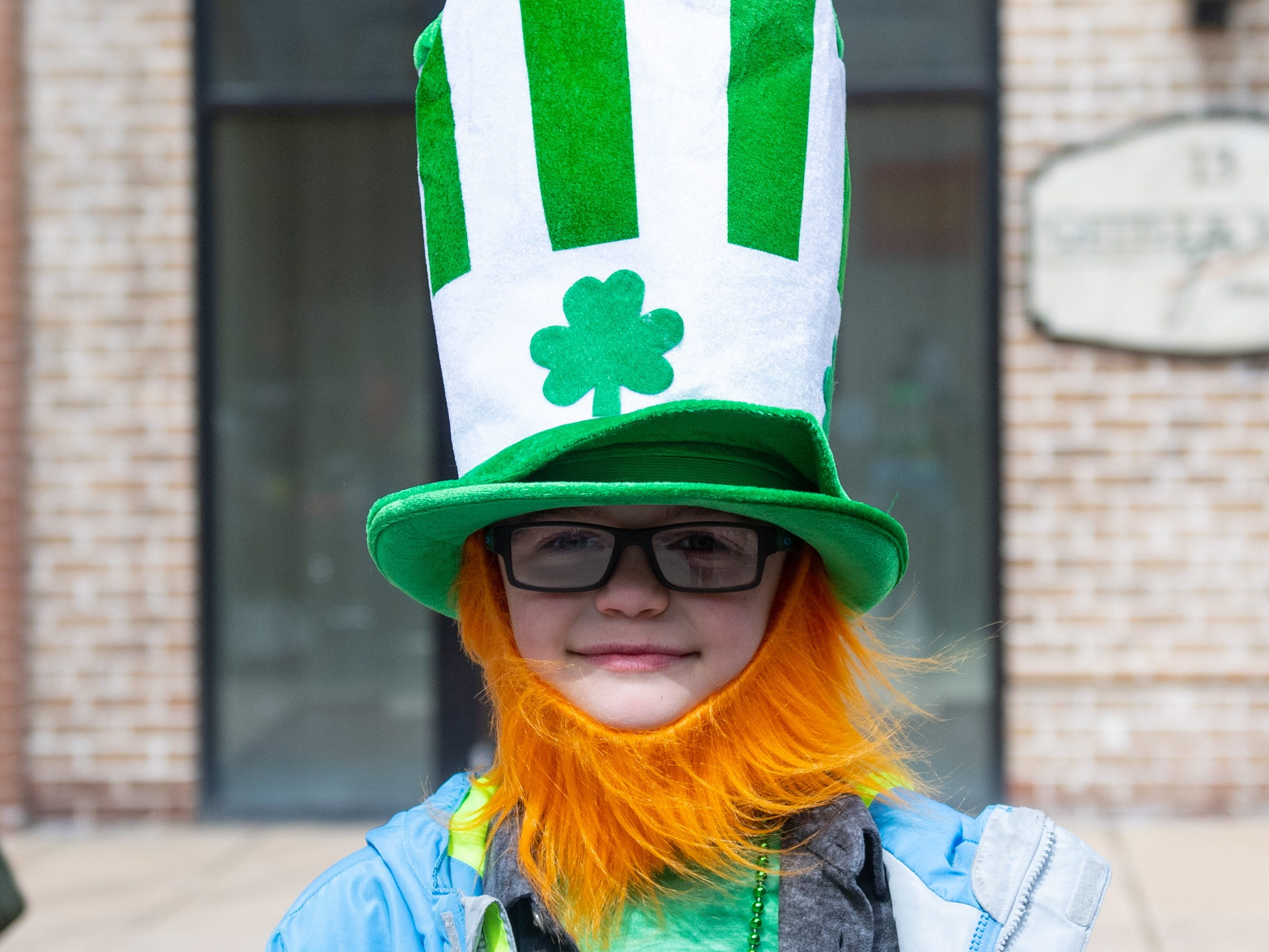 Quinn Capik is ready for the 36th Annual St. Patrick's Day Parade, March 16, 2019.