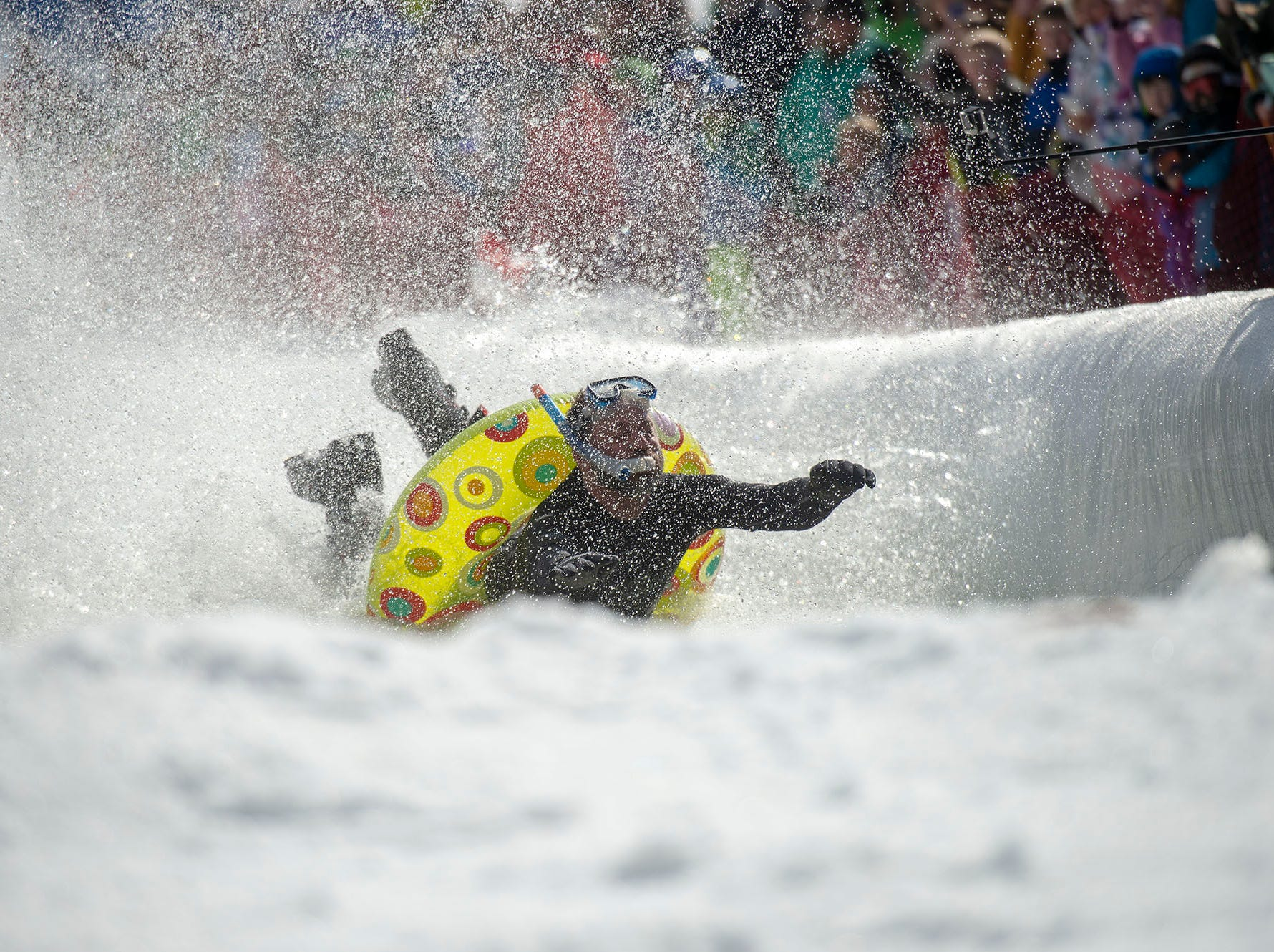 The tube and snorkel came in handy for this particpant who ended up in the pond at Roundtop Mountain Resort on Saturday, March 16, 2019.