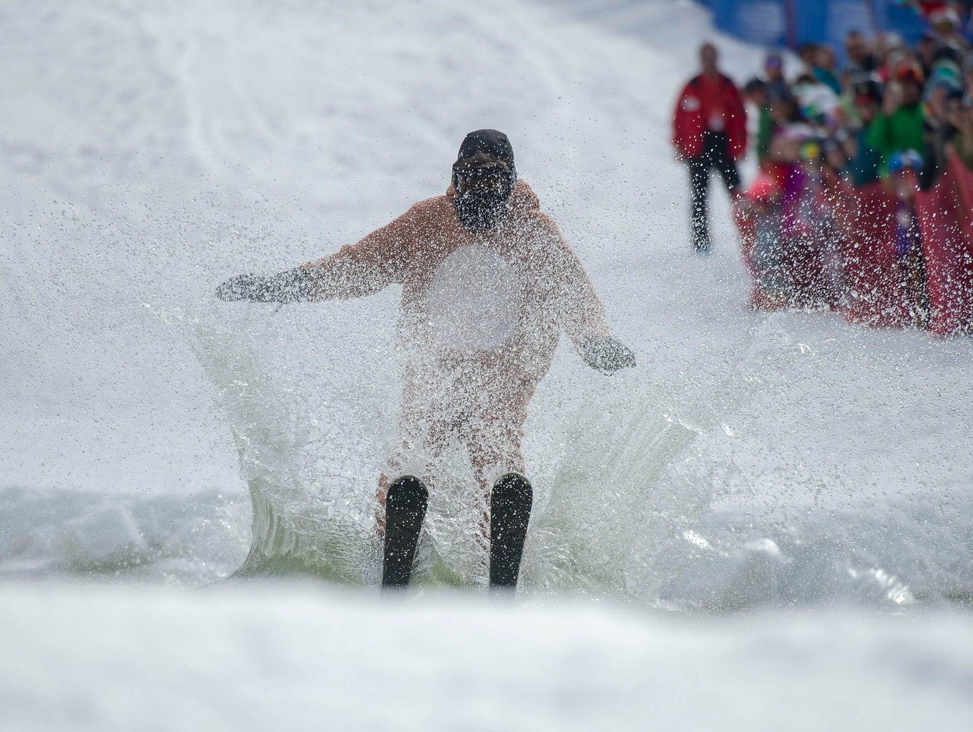 This participant almost made the entire way across the approximately 80-foot pond at Roundtop Mountain Resort on Saturday, March 16, 2019.