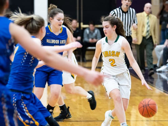 Drew Kile (2) evades the defense during the PIAA girls' basketball game between York Catholic and Bellwood-Antis, March 15, 2019 at Mifflin County High School. The Fighting Irish lost to the Lady Blue Devils 53 to 47.